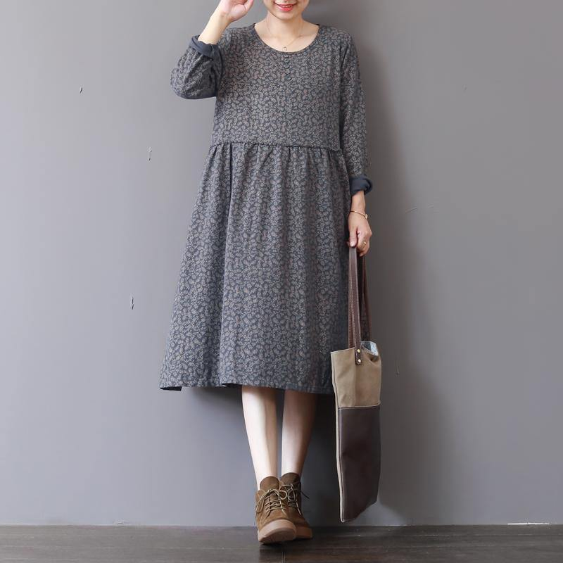 2018 gray prints natural cotton dress Loose fitting patchwork traveling clothing 2018 o neck autumn dress
