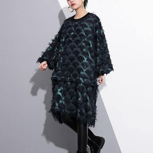 2018 green Midi-length silk polyester dress Loose fitting shirt dress New tassel long sleeve dresses