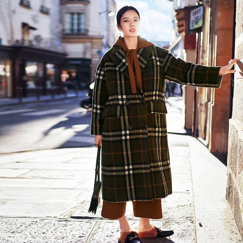 2018 green Plaid long coat plus size Notched maxi coat Fashion double breasted Winter coat