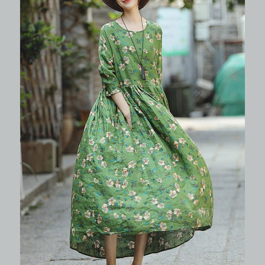 2018 green print natural linen dress Loose fitting O neck linen clothing dresses 2018 Three Quarter sleeve baggy dresses