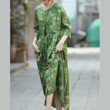 Load image into Gallery viewer, 2018 green print natural linen dress Loose fitting O neck linen clothing dresses 2018 Three Quarter sleeve baggy dresses