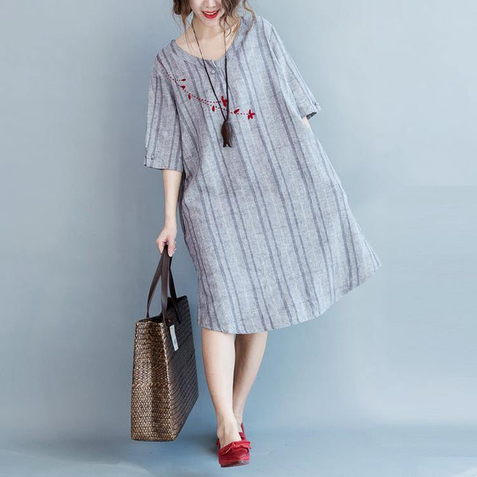 2018 light gray Plaid cotton linen dresses casual half sleeve pockets women o neck embroidery cotton linen clothing dresses