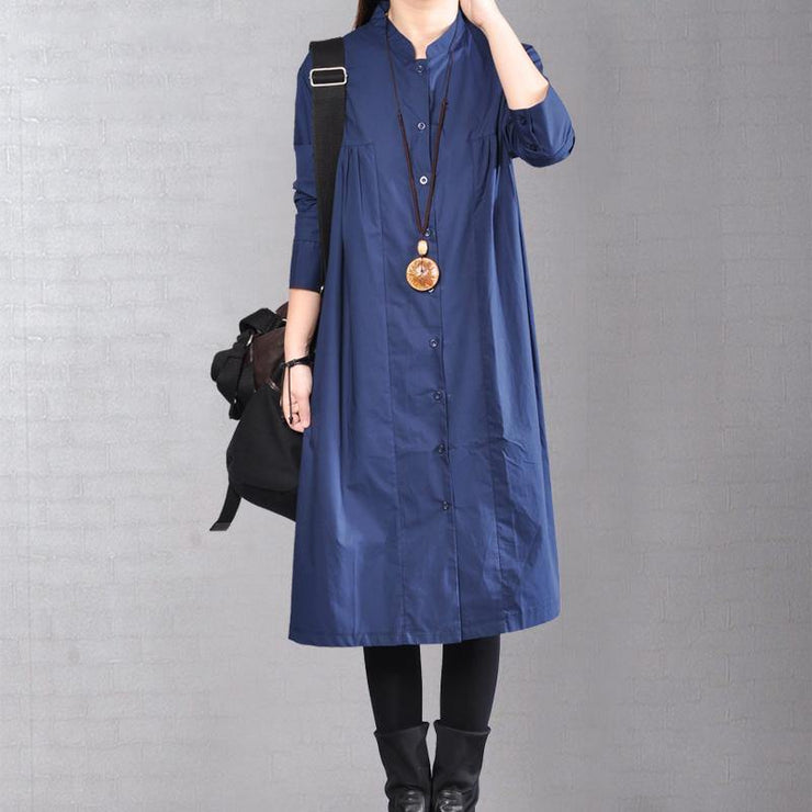 2018 navy pure linen dresses plus size clothing linen clothing dress casual Cinched solid color linen dresses