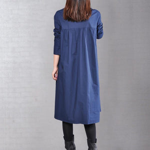 2018 navy pure linen dresses plus size clothing linen clothing dress casual wrinkled solid color linen dresses