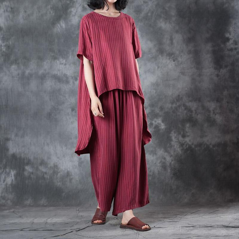 2018 new casual red low high design silk tops and women wide leg pants two pieces
