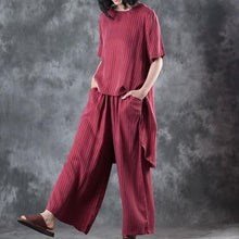 Load image into Gallery viewer, 2018 new casual red low high design silk tops and women wide leg pants two pieces