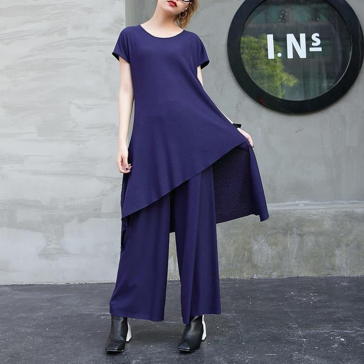 2018 new fashion cotton two pieces casual asymmetric hem tops and elastic waist wide leg pants