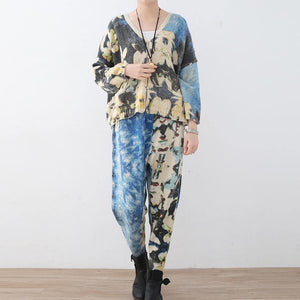 2018 new spring two pieces blue prints knit sweater and casual patchwork floral pants