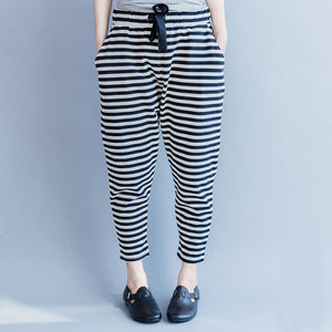 2018 new striped women casual cotton crop pants plus size cotton elastic waist drawstring harem pants