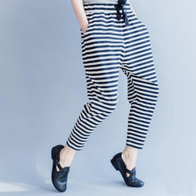 Load image into Gallery viewer, 2018 new striped women casual cotton crop pants plus size cotton elastic waist drawstring harem pants