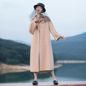 2018 nude pink wool coat plus size tie waist Winter coat lapel collar jacket