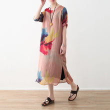 Load image into Gallery viewer, 2018 nude prints chiffon dress plus size clothing side open chiffon clothing dresses fine o neck maxi dresses