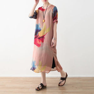 2018 nude prints chiffon dress plus size clothing side open chiffon clothing dresses top quality o neck maxi dresses