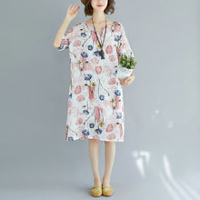Load image into Gallery viewer, 2018 pink Midi cotton dresses trendy plus size cotton dress Elegant short sleeve v neck floral cotton clothing dress