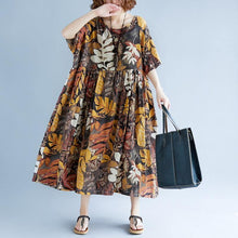 Load image into Gallery viewer, 2018 print long cotton linen dresses oversized short sleeve gown vintage o neck baggy dresses linen clothing dress