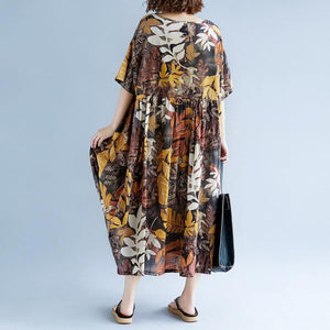 2018 print long cotton linen dresses oversized short sleeve gown vintage o neck baggy dresses linen clothing dress