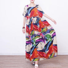 Load image into Gallery viewer, 2018 prints linen maxi dress oversize o neck linen maxi dress Elegant short sleeve maxi dresses