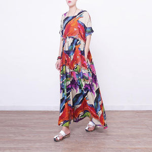 2018 prints linen maxi dress oversize o neck linen maxi dress Elegant short sleeve maxi dresses
