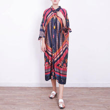Load image into Gallery viewer, 2018 red blue prints chiffon dress oversize chiffon clothing dress women side open tie bracelet sleeved chiffon dresses