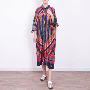 2018 red blue prints chiffon dress oversize chiffon clothing dress women side open tie bracelet sleeved chiffon dresses