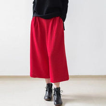 Load image into Gallery viewer, 2018 red casual cotton women pants loose elastic waist wide leg pants