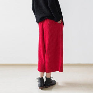 2018 red casual cotton women pants loose elastic waist wide leg pants