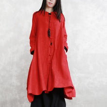 Load image into Gallery viewer, 2018 red coats oversize Stand Jacquard maxi coat Fashion long sleeve pockets long coat