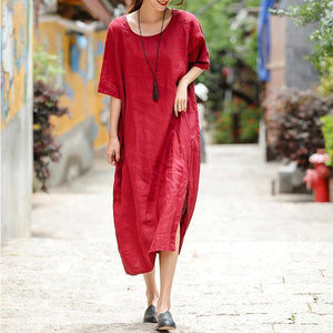 2018 red embroider fabric long linen dress plus size o neck side open traveling dress vintage half sleeve baggy dresses