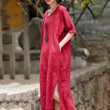 Load image into Gallery viewer, 2018 red embroider fabric long linen dress plus size o neck side open traveling dress vintage half sleeve baggy dresses
