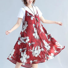 Load image into Gallery viewer, 2018 red prints chiffon sleeveless dresses oversize with cotton t shirt two pieces