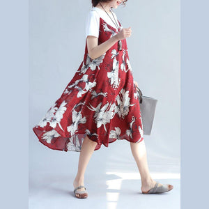 2018 red prints chiffon sleeveless dresses oversize with cotton t shirt two pieces