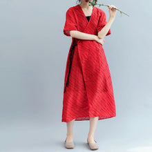 Load image into Gallery viewer, 2018 red striped long cotton linen dress oversized v neck tie waist cotton linen clothing dresses boutique short sleeve kaftan
