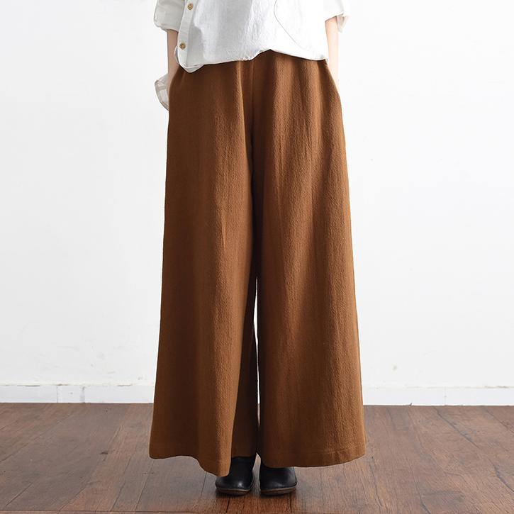2018 spring casual linen women pants elastic waist loose fashion wide leg pants