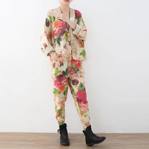 2018 spring new roses prints cute sweater and knit harem pants casual two pieces