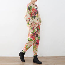 Load image into Gallery viewer, 2018 spring new roses prints cute sweater and knit harem pants casual two pieces
