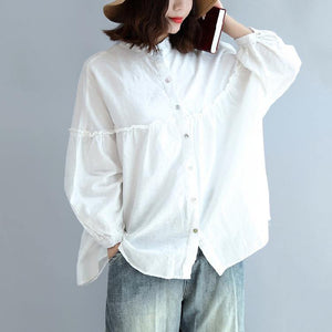 2018 spring white cotton tops plus size cotton shirts women blouses