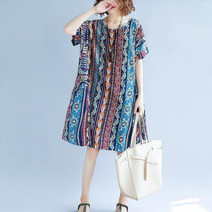 2018 striped cotton linen dresses plus size short sleeve baggy dresses cotton linen dresses boutique o neck traveling dress