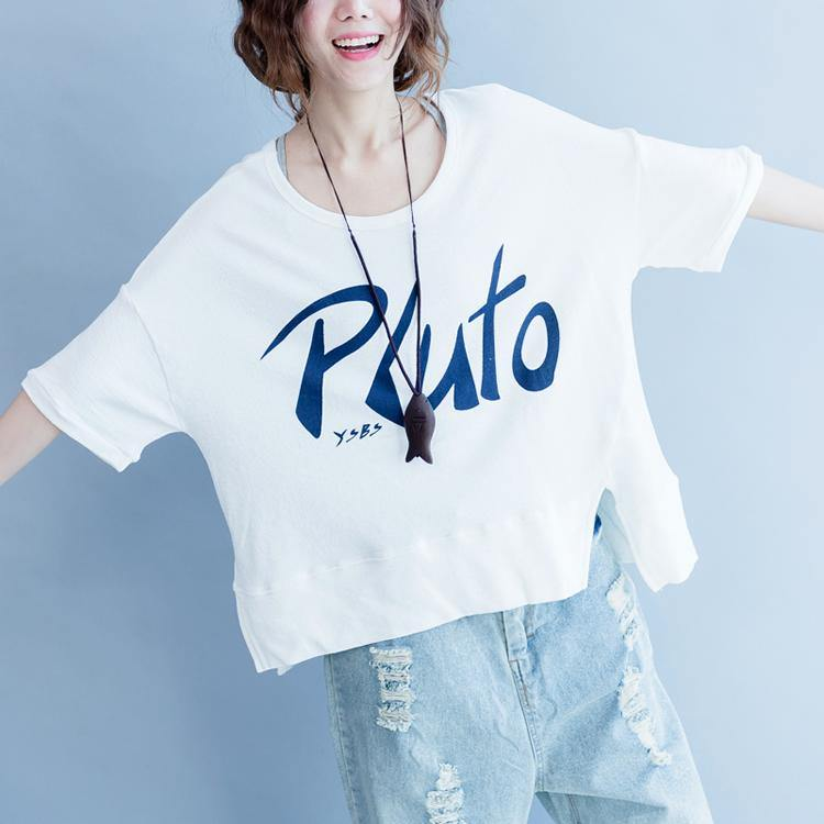 2018 summer front side open cotton pullover oversize short sleeve tops