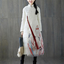 Load image into Gallery viewer, 2018 thick white print down coat plus size stand collar patchwork Casual Chinese Button down coat