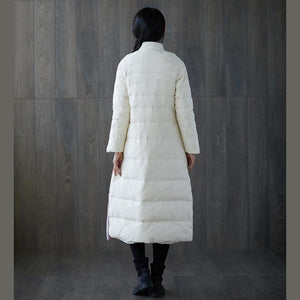 2018 thick white print down coat plus size stand collar patchwork Casual Chinese Button down coat