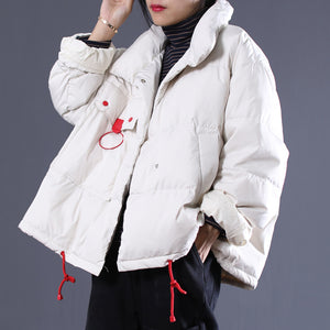 2018 white Outfits oversize stand collar thick quilted coat Elegant double breasted down coats