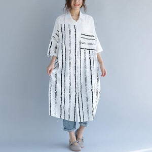 2018 white cotton dress plus size clothing dresses women bracelet sleeved patchwork Turn-down Collar striped cotton dresses