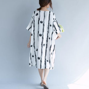 2018 white cotton knee dress plus size clothing shirt dress top quality short sleeve baggy dresses print o neck cotton dresses