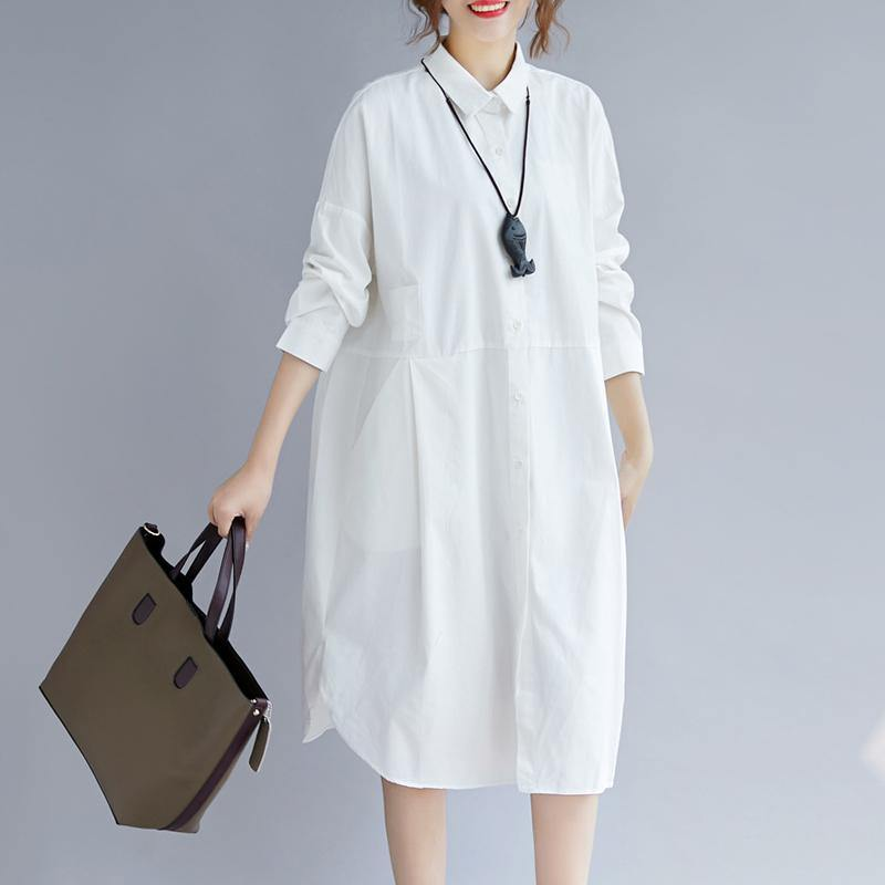 2018 white cotton shirt dress plus size traveling clothing casual long  sleeve pockets side open Turn-down Collar cotton shirt dress