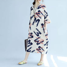 Load image into Gallery viewer, 2018 white linen shift dresses plus size linen maxi dress top quality bracelet sleeve alphabet prints linen clothing dress