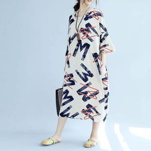 2018 white linen shift dresses plus size linen maxi dress top quality bracelet sleeve alphabet prints linen clothing dress