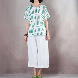 2018 white print linen tops plus size shirts vintage short sleeve o neck natural linen pullover