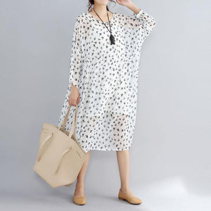 2018 white prints natural chiffon dress oversized long sleeve two pieces chiffon dress