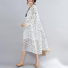 Load image into Gallery viewer, 2018 white prints natural chiffon dress oversized long sleeve two pieces chiffon dress