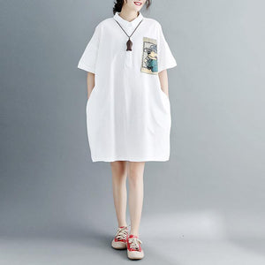 2018 white pure cotton dress oversize clothing dresses 2018 short sleeve Turn-down Collar clothing dresses